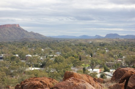 View over Alice Springs towards the West MacDonnell Ranges
